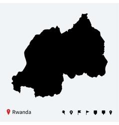 High detailed map of Rwanda with navigation pins vector