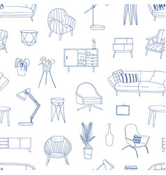 home furniture hand drawn seamless pattern vector image