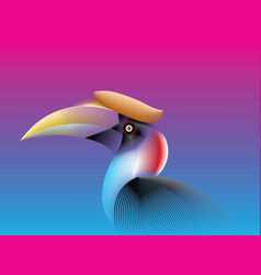 Hornbill lines fade color vector