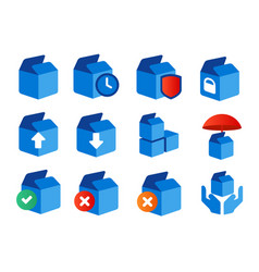 Icon set box cardboard package delivery status e vector