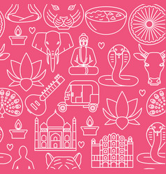 india seamless pattern in thin line style vector image