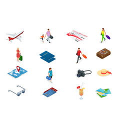 isometric tourism and booking app iconcs travel vector image