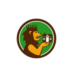 King Lion Holding House Circle Retro vector