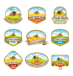Labels with the image of a farm vector