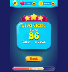 Level complete menu pop up with stars score vector