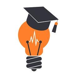 Lightbulb with a graduation cap vector