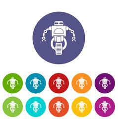Machine robot icons set flat vector