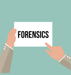 Man showing paper forensics text vector