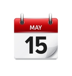 May 15 flat daily calendar icon Date and vector image