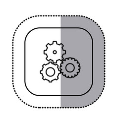 Monochrome contour with square sticker with vector