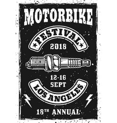 Motorbike festival vintage poster with spark plug vector