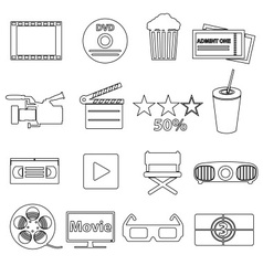 movie and cinema simple outline icons set eps10 vector image vector image
