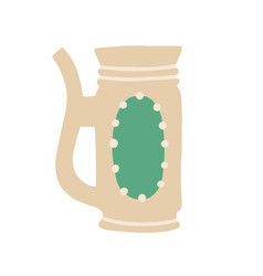 Mug from clay decorated with ornament and handle vector