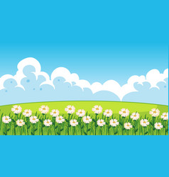 Nature scene background with white flowers in the vector