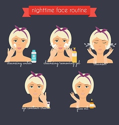 Nighttime face care routine Everyday Skincare and vector