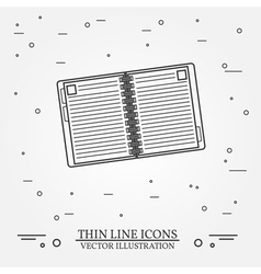 Notebook thin line design Notebook pen Icon Notebo vector image