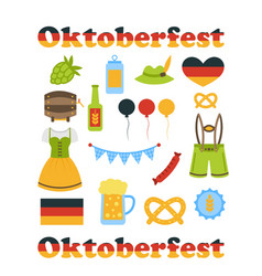 Oktoberfest Colorful Symbols Isolated vector image