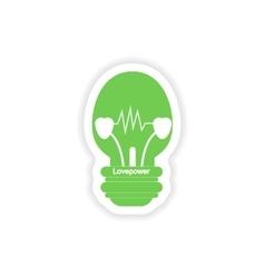 Paper sticker on white background lightbulb love vector