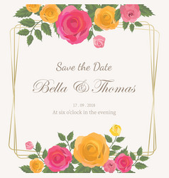 pink and yellow roses bouquet wedding invitation vector image