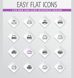 Print icons set vector