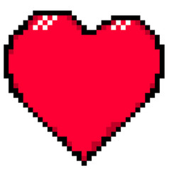 red heart created in the style of pixel art vector image