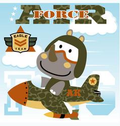 Rhinoceros air forces squadron cartoon kids t vector