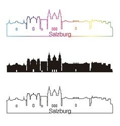 Salzburg skyline linear style with rainbow vector image