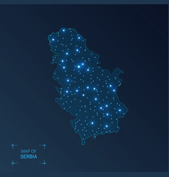 Serbia map with cities luminous dots - neon vector