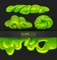 Set green realistic slimes on a black vector