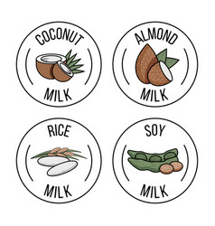 set labels with coconut almond rice and soy vector image