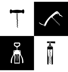 Set of black and white corkscrews vector image