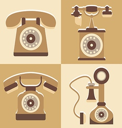 Set of cute telephone and vintage style vector image