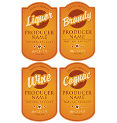 Set of retro labels for various alcohol beverages vector