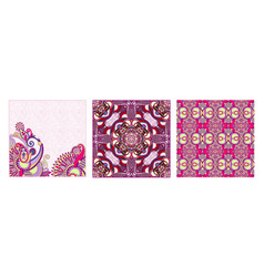 Set of vintage decorative ornate floral ethnic vector