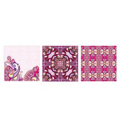 set vintage decorative ornate floral ethnic vector image