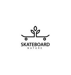 Skateboard nature logo design icon vector