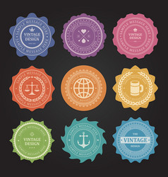 stickers with shabvintage labels set vector image