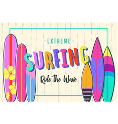 surfing poster set surfboards vector image