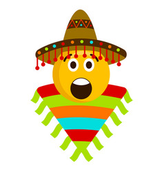 surprised emoji with a mexican hat vector image