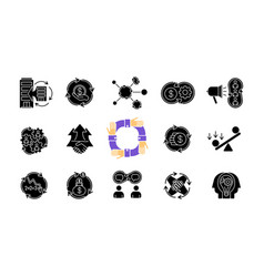 Synergy black glyph icons set on white space vector