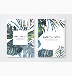 tropical leaves card template vector image