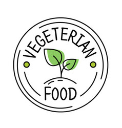 vegetarian food label line style logo with green vector image