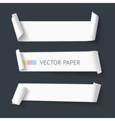 White realistic detailed paper banners vector