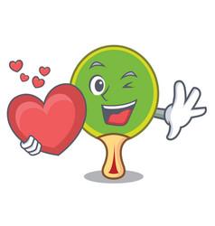 With heart ping pong racket mascot cartoon vector