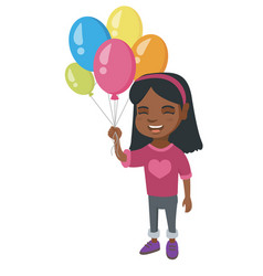 african girl with the bunch of colorful balloons vector image