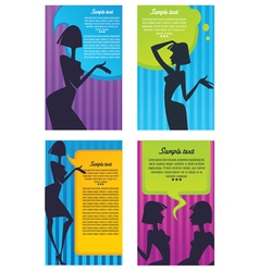 headers with girl silhouette and speech bubbles vector image