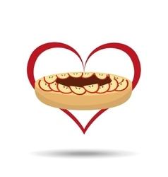 heart cartoon cake apple and sweet chocolate icon vector image vector image