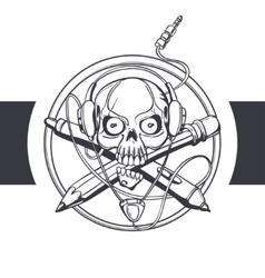 Skull Designer Black vector image vector image