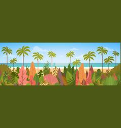 Tropical beach island palm tree ocean summer vector