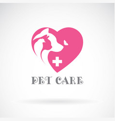 bird cat dog and butterfly in pink heart shape vector image vector image